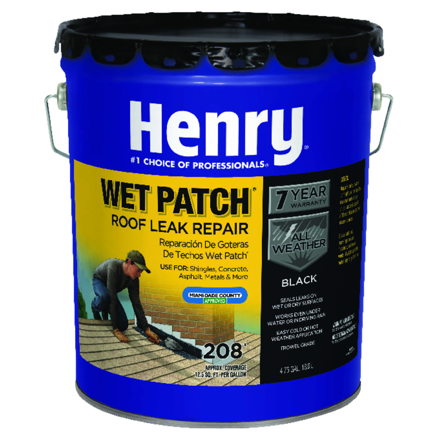 Henry  Smooth  Black  Asphalt  Wet Patch Roof Cement  4-3/4 gal.