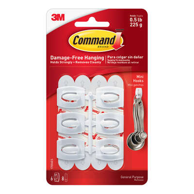3M  Command  Mini  Plastic  Hook  11/8 in. L 6 pk