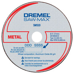 Dremel  Saw-Max  3 in. Dia. x 3/8 in.  Aluminum Oxide  Metal Cut-Off Wheel  3 pc.