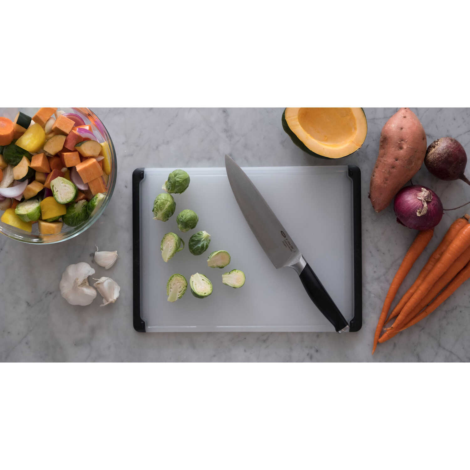 OXO  Good Grips  10.5 in. W x 14.5 in. L Matte  Black/White  Polypropylene  Utility Cutting Board