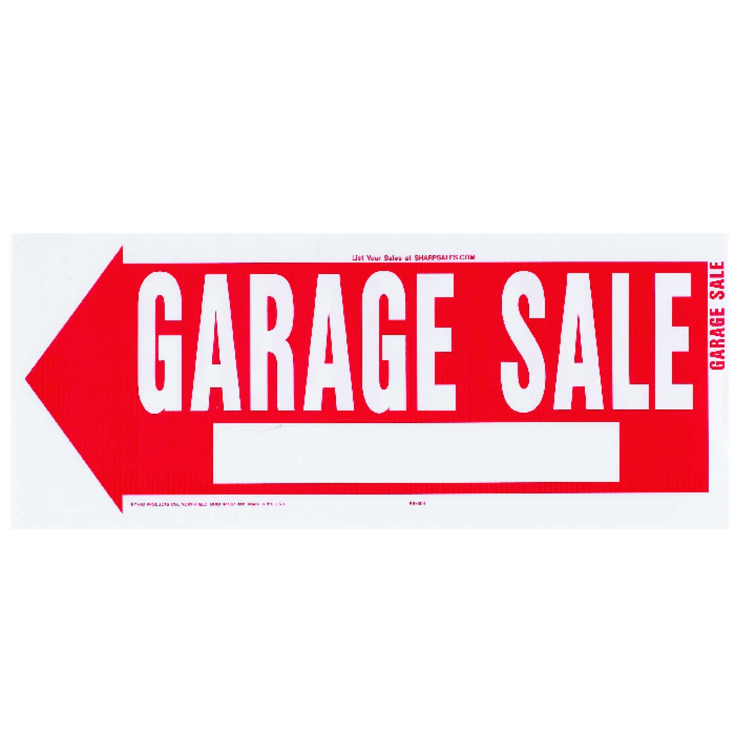 Hy-Ko  English  Garage Sale  Sign  Plastic  10 in. H x 24 in. W