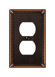 Amerelle  Imperial Beaded  Aged Bronze  1 gang Die-Cast Metal  Duplex Outlet  Wall Plate  1 pk
