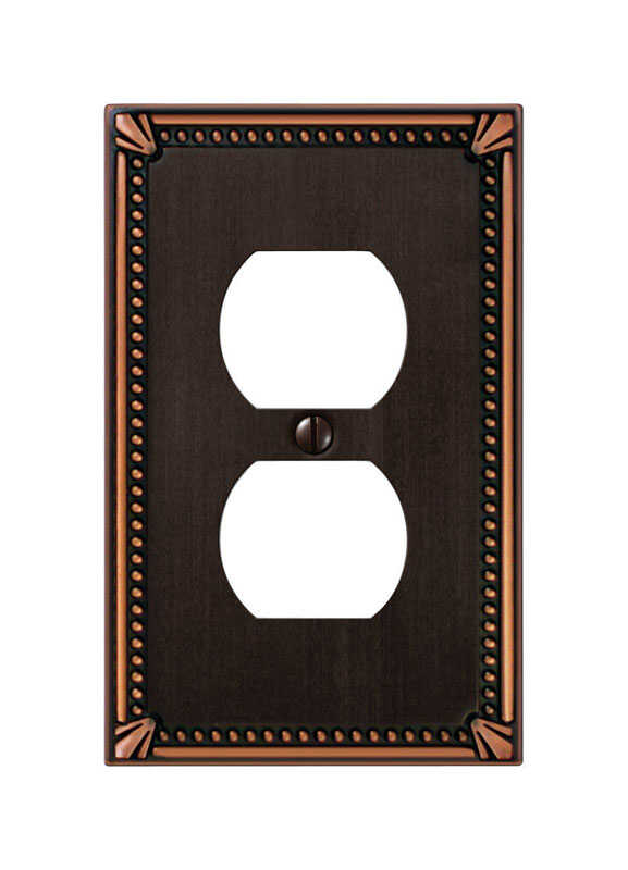 Amerelle  Imperial Beaded  1 gang Die-Cast Metal  Duplex Outlet  Wall Plate  1 pk