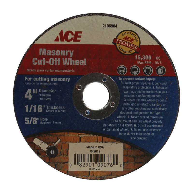 Ace  4 in. Aluminum Oxide  Masonry Cut-Off Wheel  1/16 in.  x 5/8 in.  1 pc.