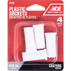 Ace  5/8 in. Dia. Plastic  Caster Socket  4 pk
