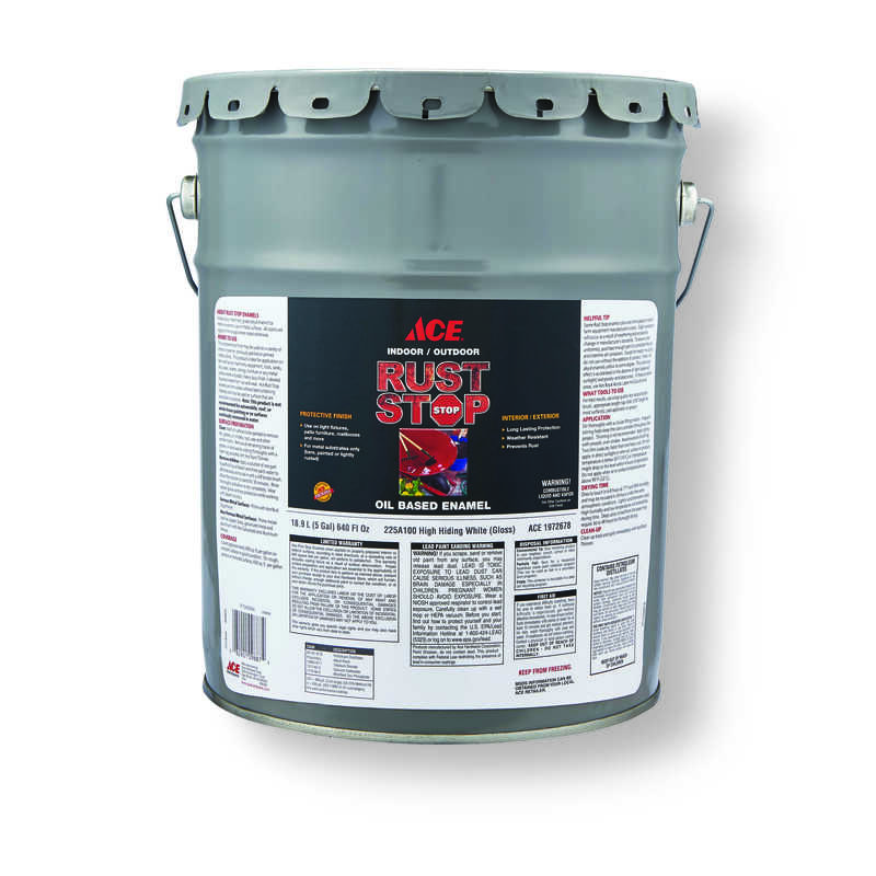 Ace  Rust Stop  Indoor and Outdoor  Gloss  White  Rust Prevention Paint  5 gal.