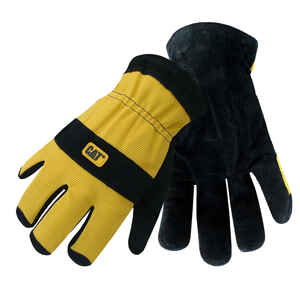 CAT  Men's  Indoor/Outdoor  Split Leather  Palm  Work Gloves  Black/Yellow  L  1 pair