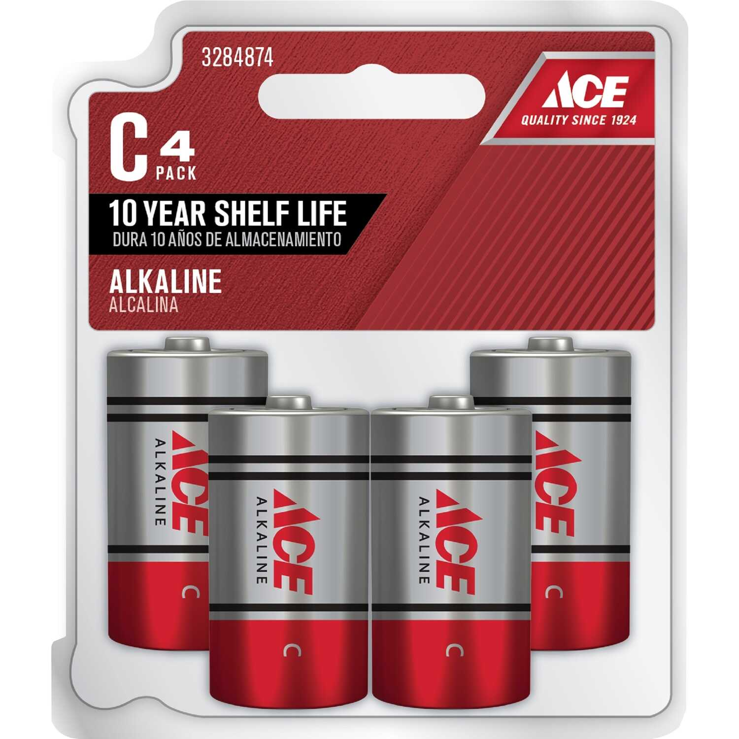 Ace  C  Alkaline  Batteries  4 pk Carded  1.5 volts