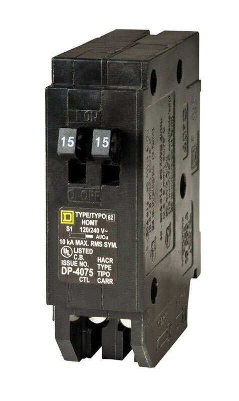 Square D  HomeLine  15/15 amps Tandem  Single Pole  Circuit Breaker