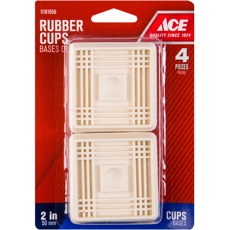 Ace  Rubber  Caster Cup  White  Square  2 in. W x 2 in. L 4 pk