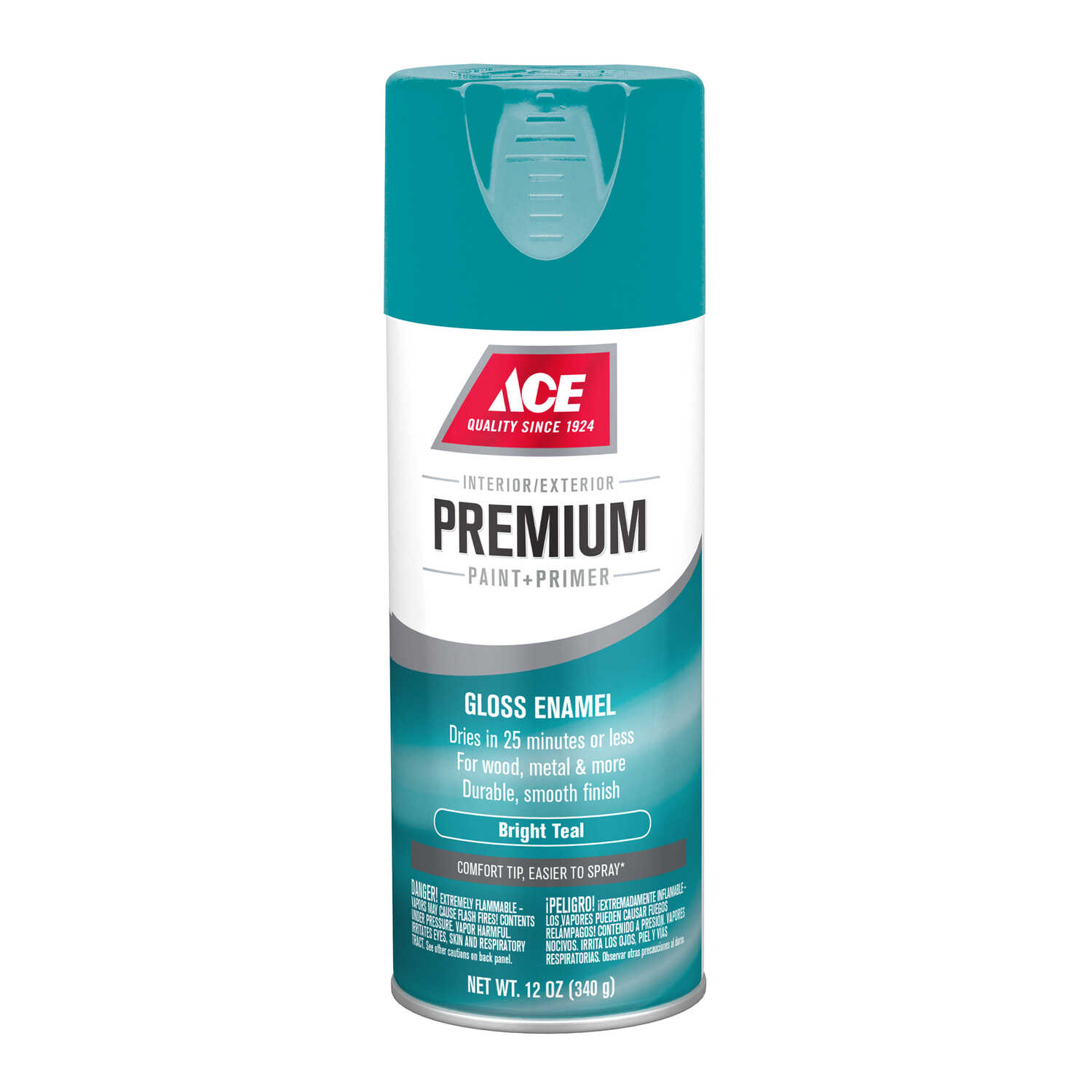 Ace  Premium  Gloss  Bright Teal  Paint + Primer Spray Paint  12 oz.