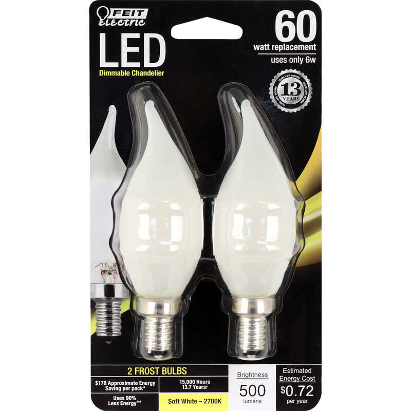 FEIT Electric  5.5 watts CA10  LED Bulb  500 lumens Soft White  Decorative  60 Watt Equivalence