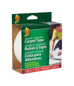 Duck Brand  1.88 in. W x 75 ft. L x 75 ft. L x 1.88 in. W Indoor and Outdoor  Carpet Tape  Polyester