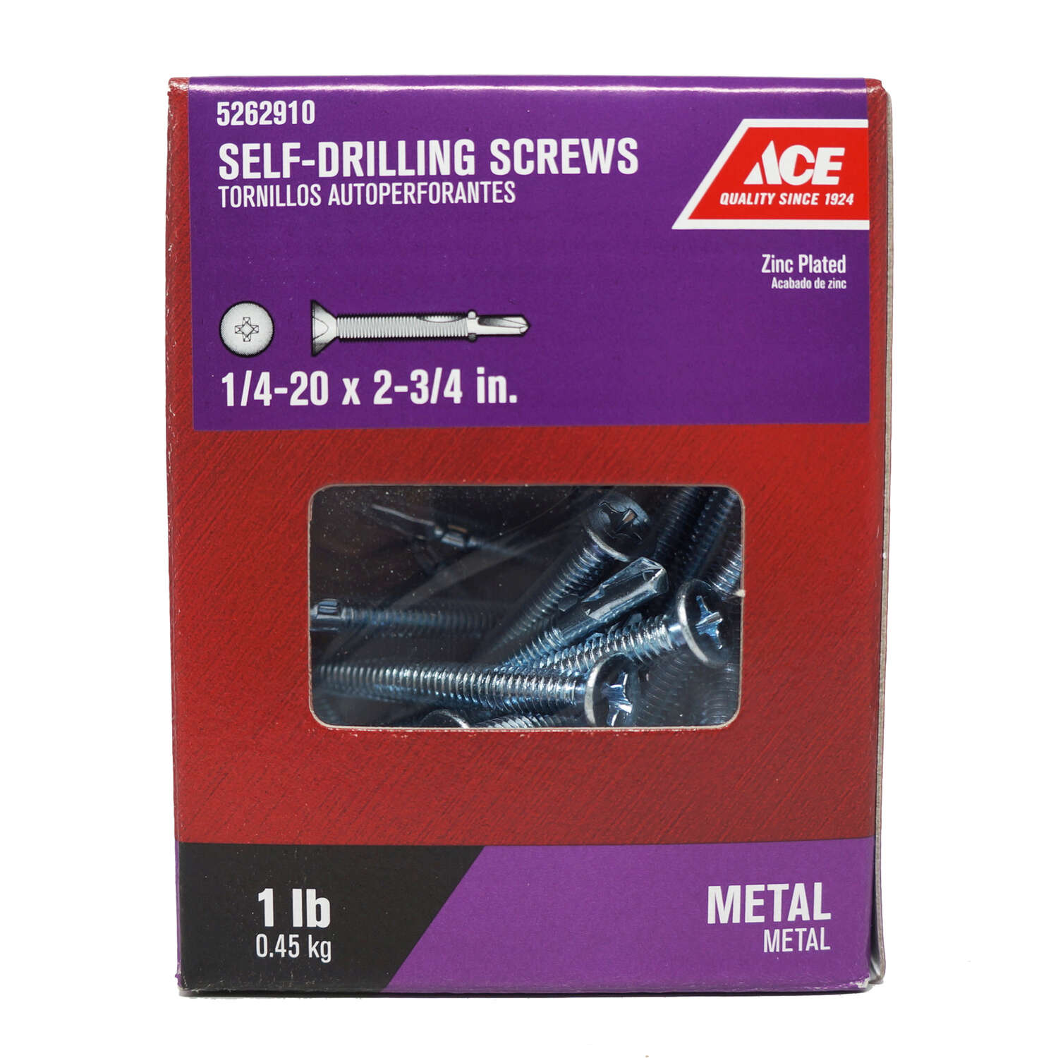 Ace 1/4-20 Sizes x 2-3/4 in. L Phillips Flat Head Zinc-Plated Zinc Self-Drilling Screws w/Wings