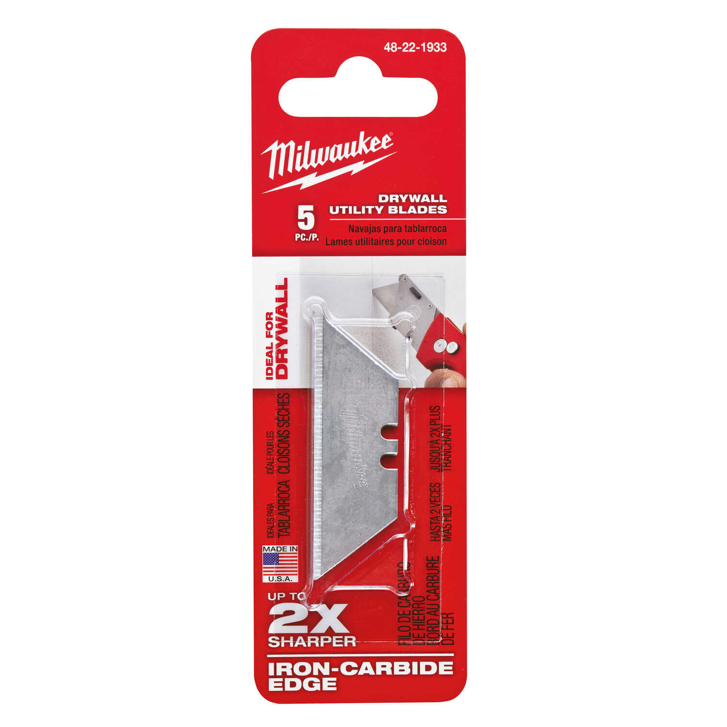 Milwaukee  3 in. L x 0.02 in.  Micro Carbide Metal  Utility  Drywall Utility Blades  5 pc.