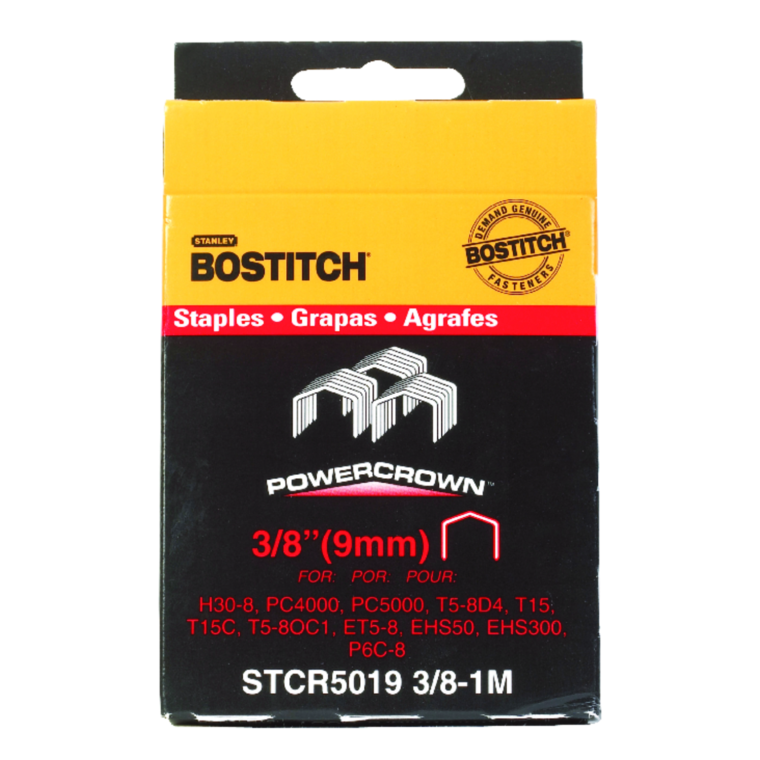 Stanley Bostitch  3/8 in. L x 7/16 in. W Steel  Wide Crown  18 Ga. 1000  Caps and Staples