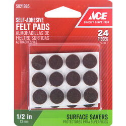 Ace  Felt  Self Adhesive Pad  Brown  Round  1/2 in. W 24 pk