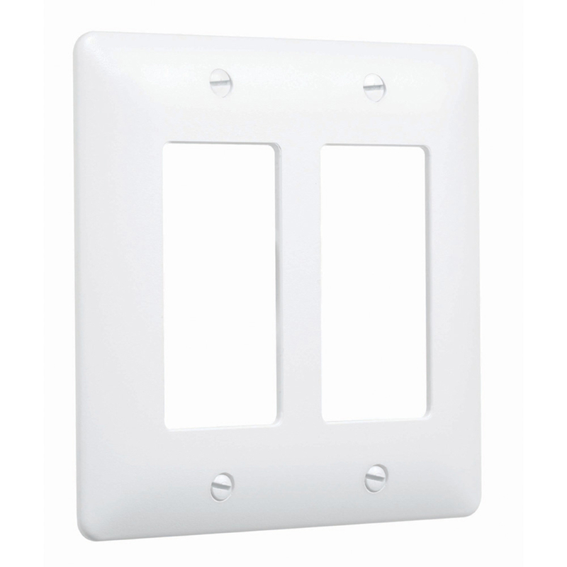 TayMac  Masque 5000  White  2 gang Plastic  Toggle  1 pk Wall Plate Cover