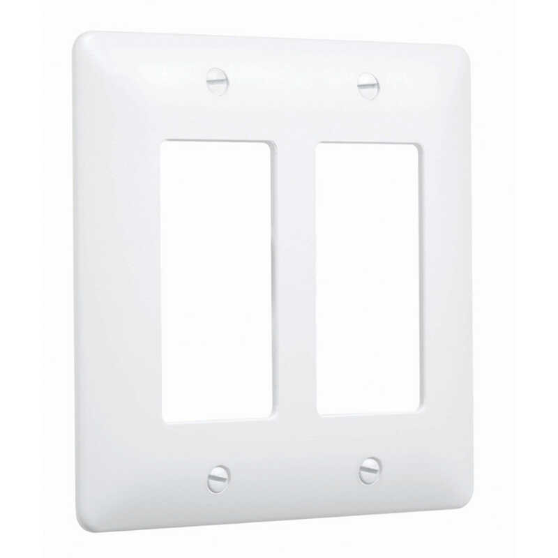 TayMac  Masque 5000  White  2 gang Plastic  Toggle  Wall Plate Cover  1 pk