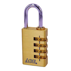 Ace  1-7/8 in. H x 1-1/4 in. W 4-Dial Combination  Brass  1 pk Padlock