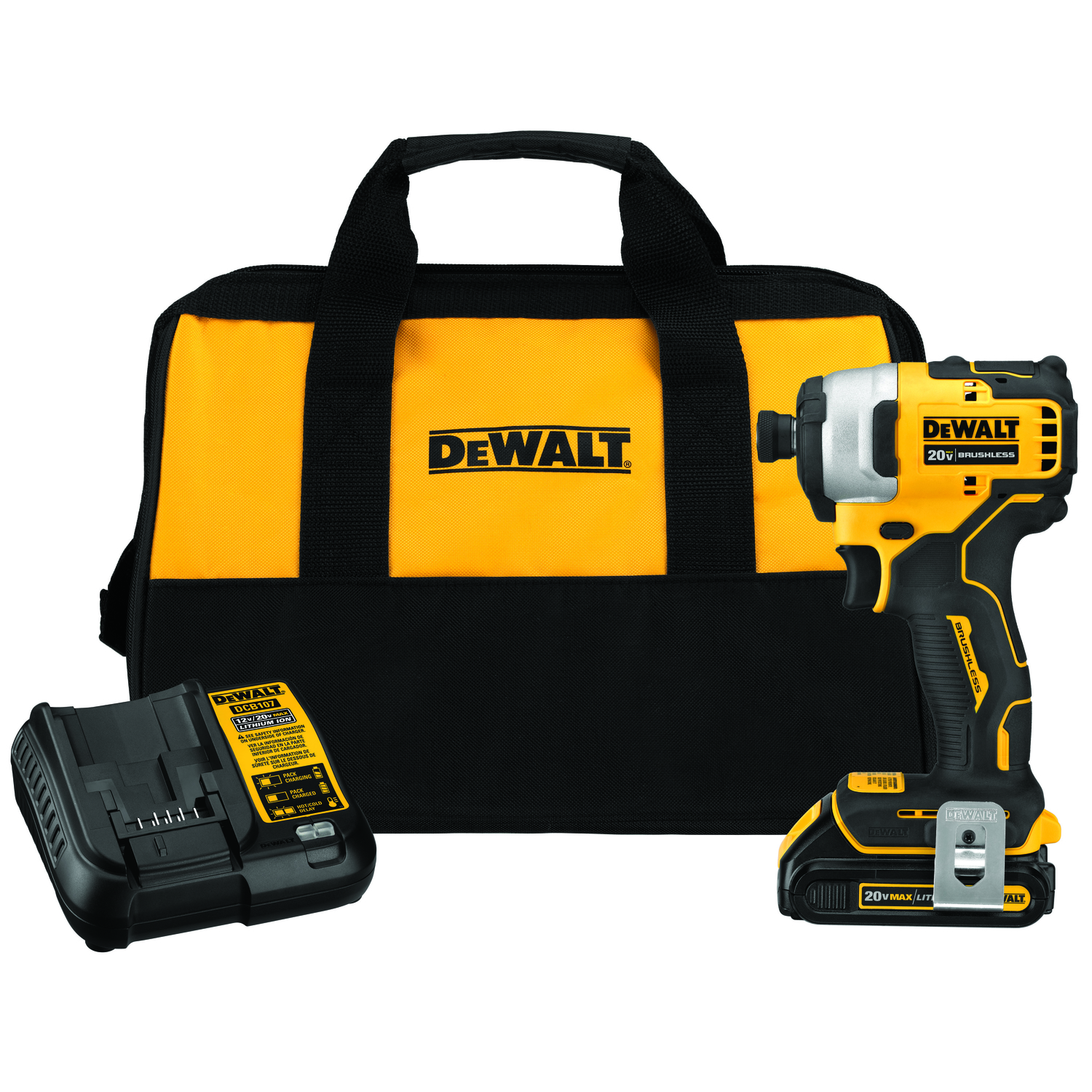 DeWalt 20V Max 20 volts 1/4 in. Hex Cordless Brushless Impact Driver ...