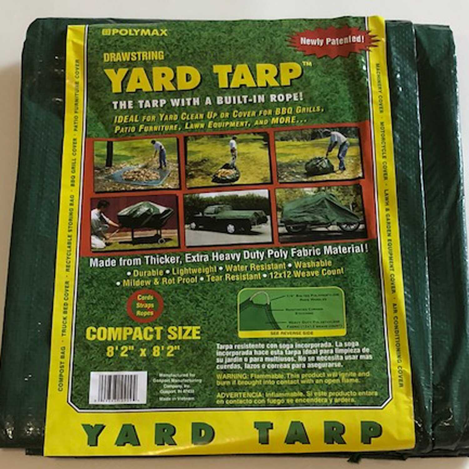 Gosport  8 ft. 2 in.  W x 8 ft. 2 in.  L Heavy Duty  Polyethylene  Yard Tarp  Green