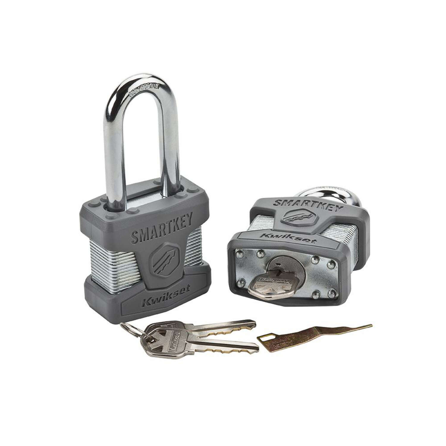 Kwikset  4.5 in. W x 1.7 in. H Dual Ball Bearing Locking  Laminated Steel  Padlock  1 pk Keyed Alike