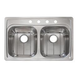 Franke  Stainless Steel  Top Mount  33 in. W x 22 in. L Two Bowls  Kitchen Sink