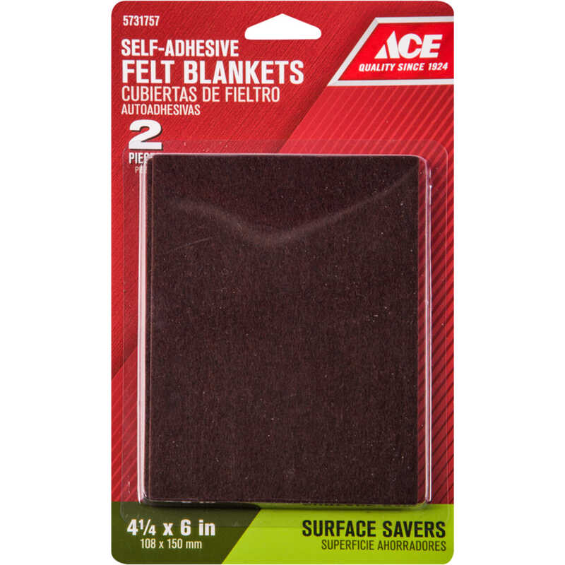 Ace  Felt  Pad  Brown  Rectangle  4-1/2 in. W x 6 in. L 2 pk Self Adhesive