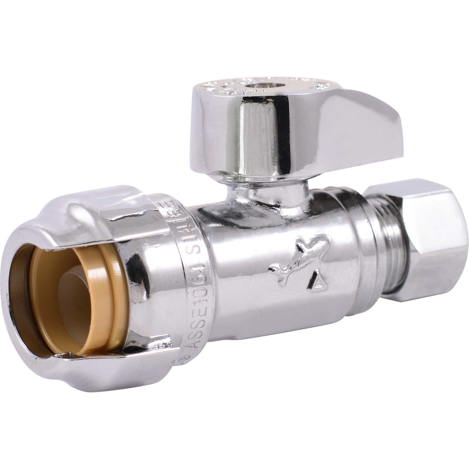 SharkBite  Compression   x 1/2 in. Dia. Compression  Straight Stop Valve  Brass  1/2 in.