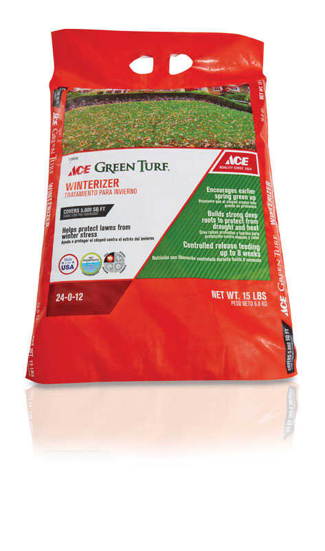 Ace  Green Turf  24-0-12  Lawn Fertilizer  For All Grass Types 15 lb. 5000 sq. ft.