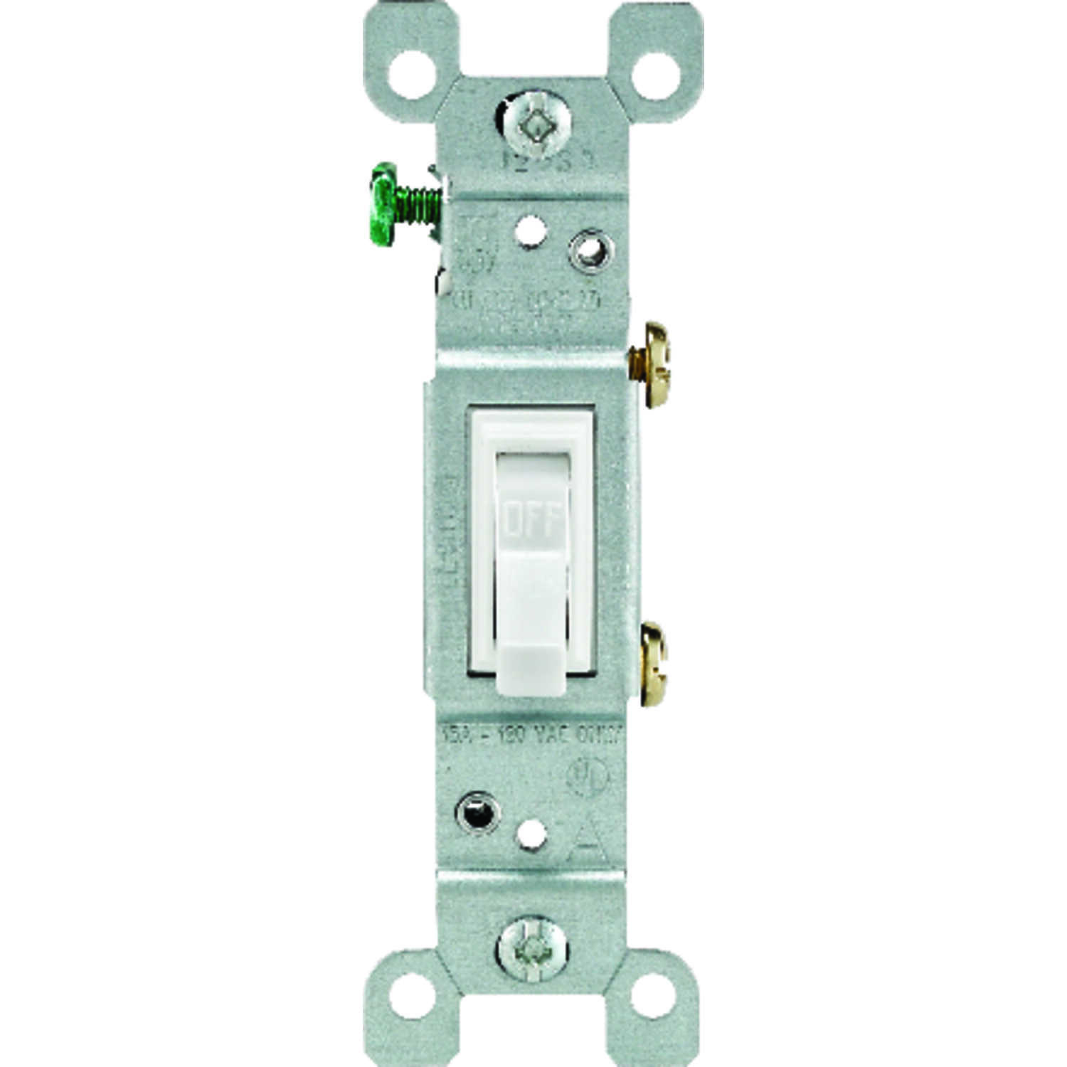 Leviton  15 amps Toggle  Switch  White  1 pk