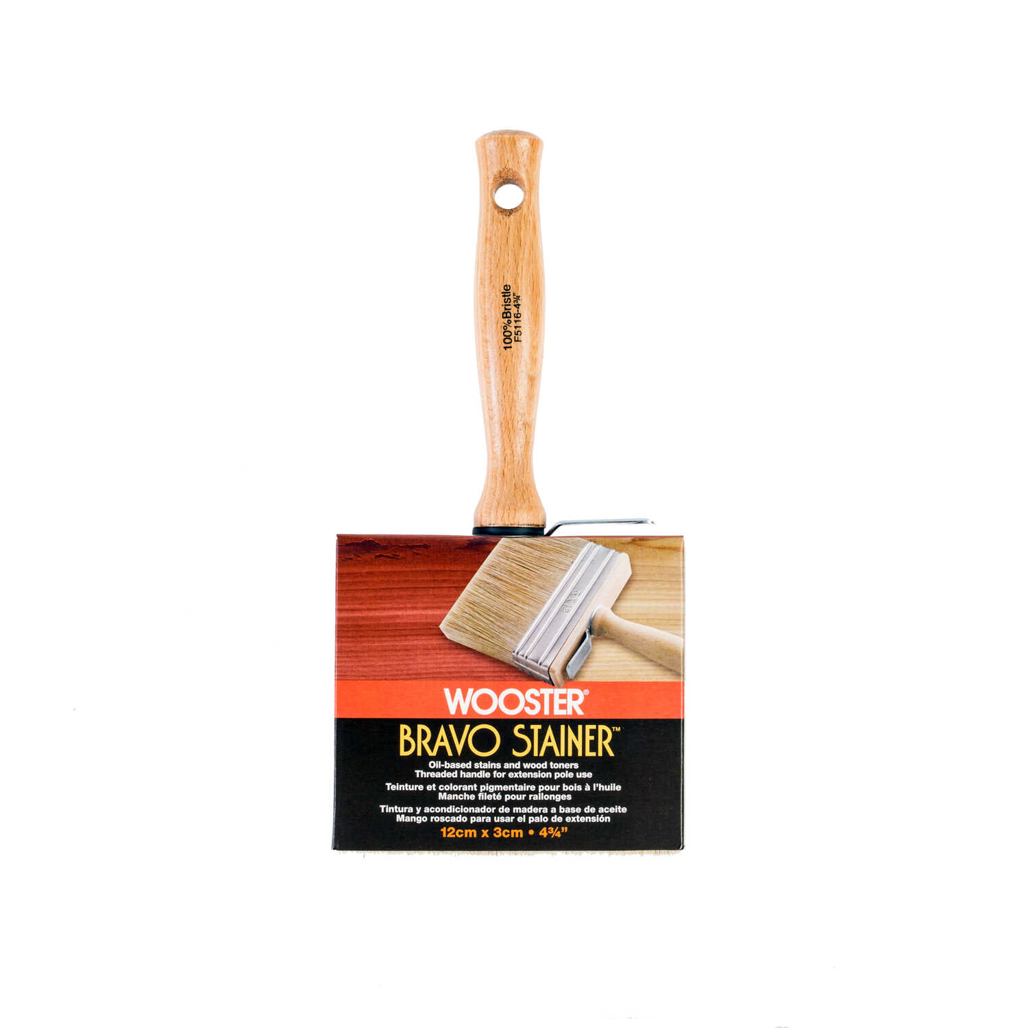 Wooster  Bravo Stainer  4-3/4 in. W Flat  White China Bristle  Oil-Based Paint Brush