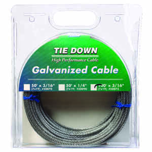 Tie Down Engineering  Galvanized  Galvanized Steel  3/16 in. Dia. x 100 ft. L Aircraft Cable