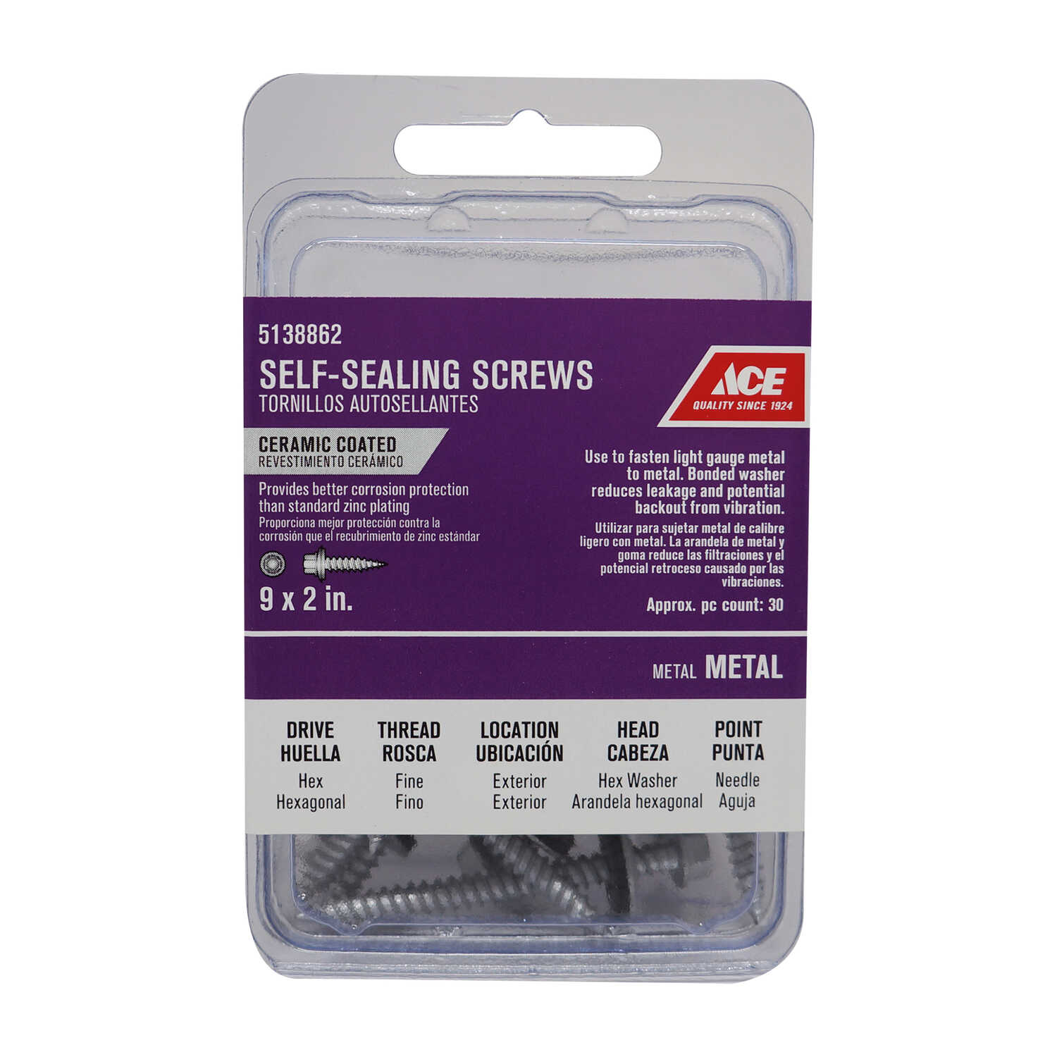 Ace  9 Sizes  x 2 in. L Hex Washer Head Ceramic  Steel  Self-Sealing Screws