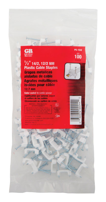 Gardner Bender  1//2 in W Plastic  Insulated Cable Staple  225 pk