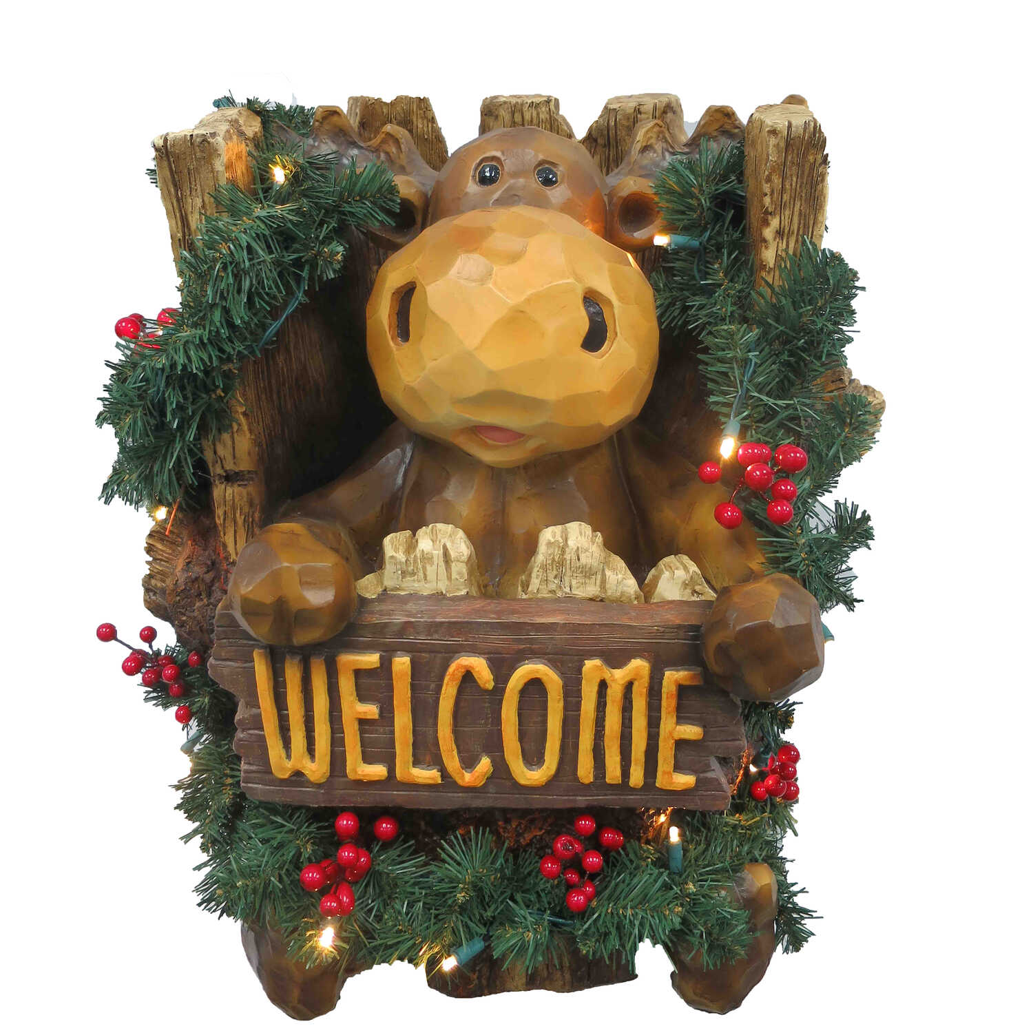 CHT Moose in Tree Trunk Christmas Decoration Brown Polyresin 1 pk ...