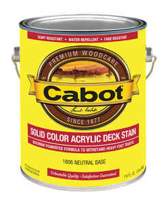 Cabot  Solid  Tintable Neutral Base  Acrylic  Deck Stain  1 gal.