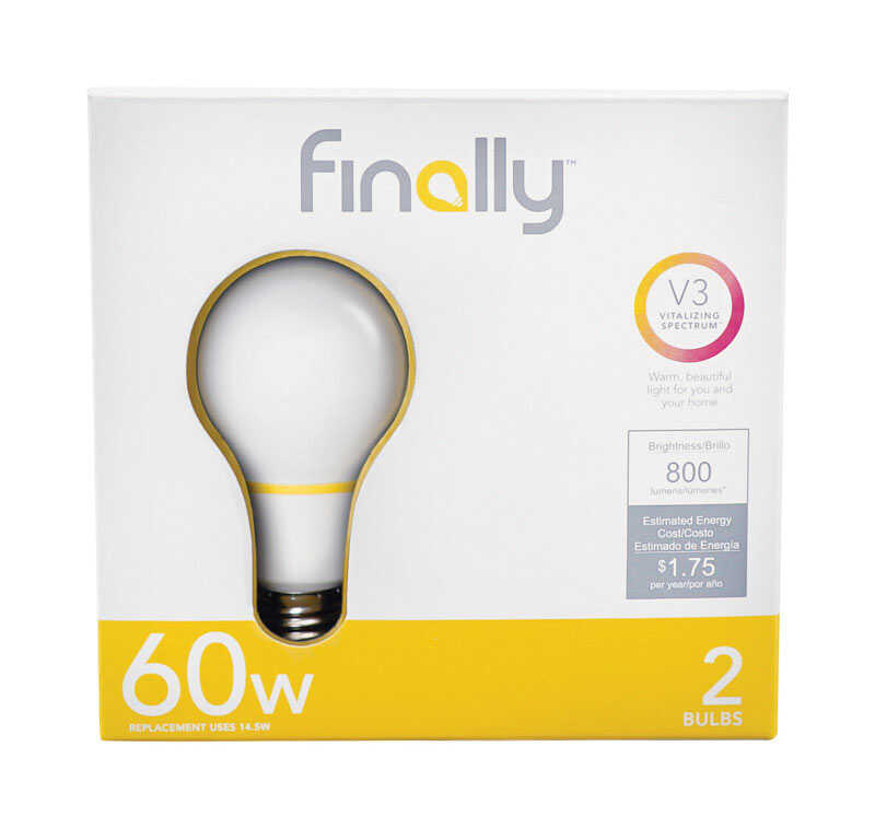 Finally  Lucidity Lights  A19  E26 (Medium)  LED Bulb  Warm White  60 Watt Equivalence 2 pk
