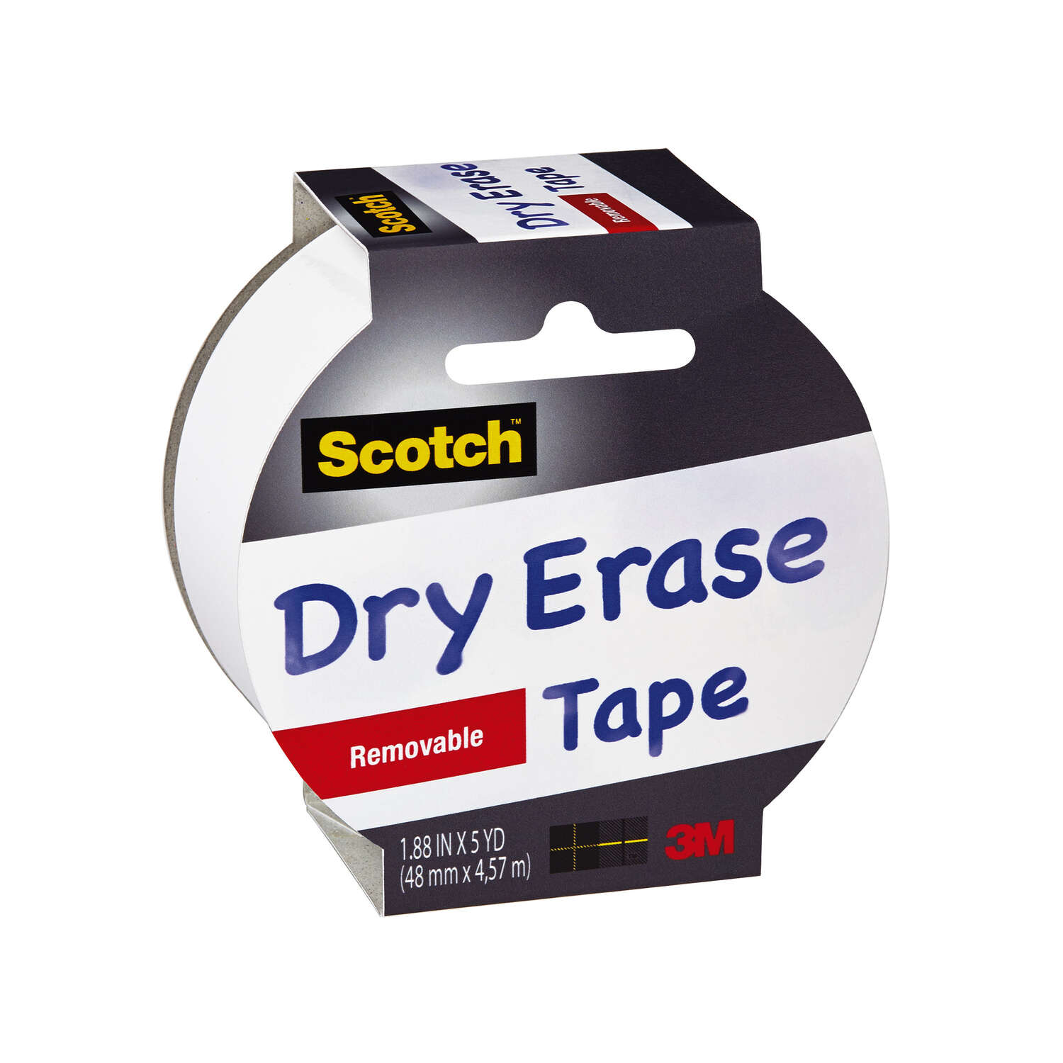 Scotch  1.88 in. W x 1.88 in. W x 5 yd. L x 5 yd. L Dry Erase Tape  White