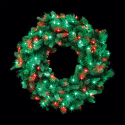 Celebrations  Prelit Green  Wreath  36 in. Dia. Red/Green