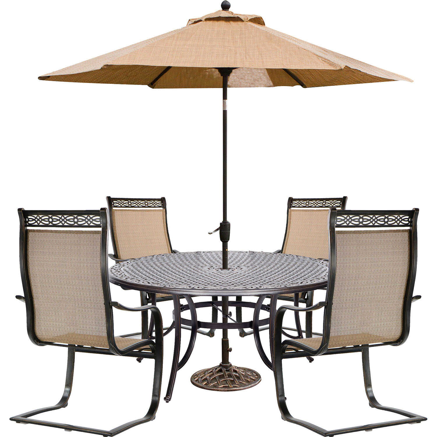 Hanover  6 pc. Brown  Aluminum  Round Table with Umbrella  Patio Set