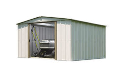 Arrow  70.88 in. H x 10 ft. W x 10 ft. D White  Galvanized Steel  Storage Shed