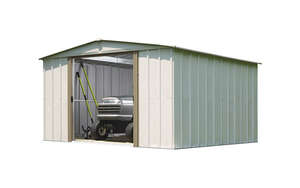 Arrow  70.88 in. H x 10 ft. W x 10 ft. D Galvanized Steel  Storage Shed  White
