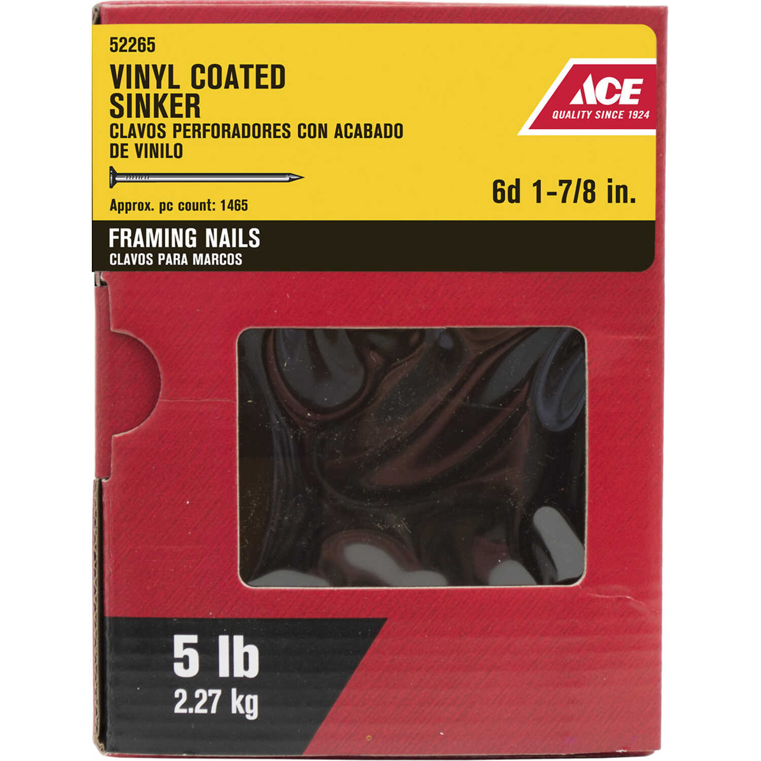 Ace  6D  1-7/8 in. L Sinker  Steel  Nail  Checkered Head Smooth Shank  1485 pk 5 lb.