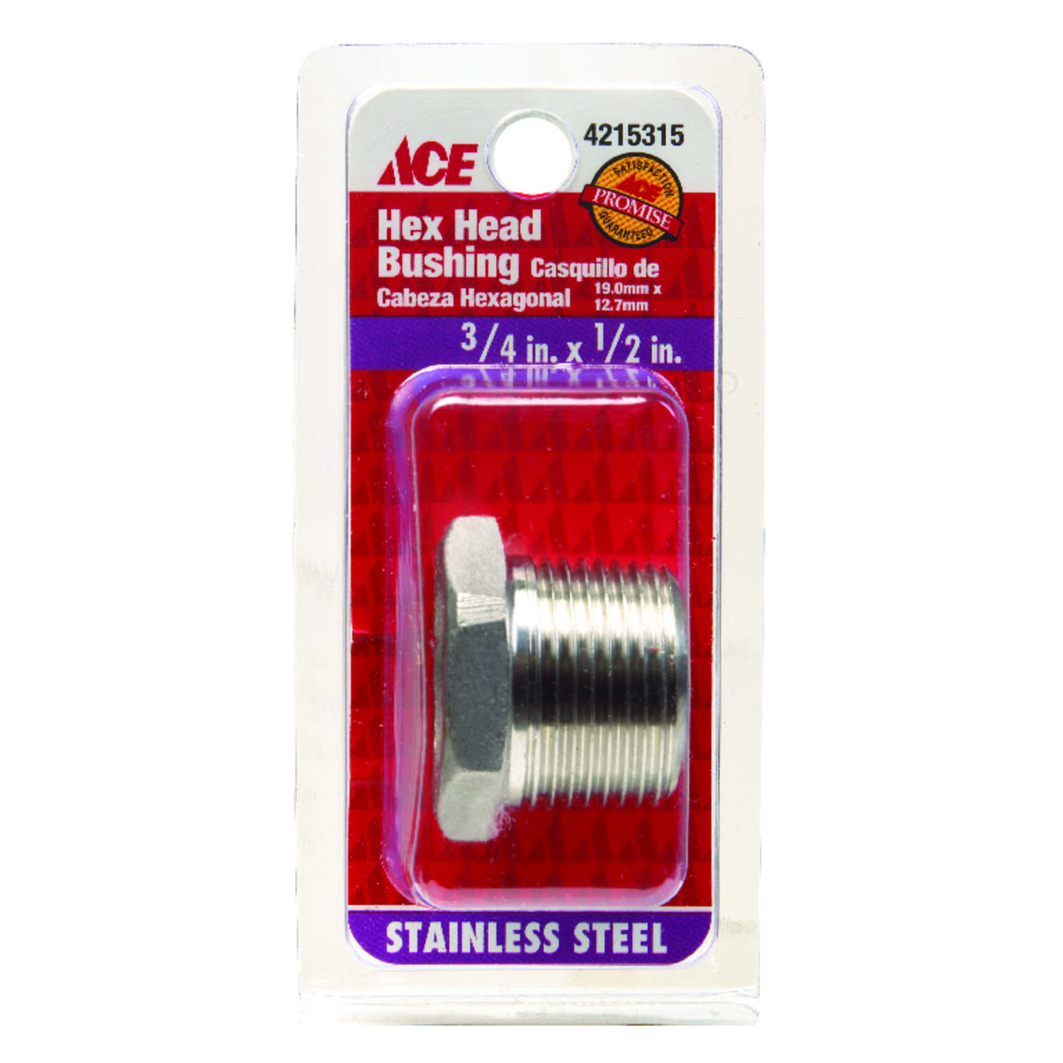 Smith-Cooper 3/4 in. MPT x 1/2 in. Dia. FPT Stainless Steel Hex Bushing