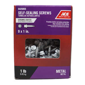 Ace  9 Sizes  x 1 in. L Hex  Hex Washer Head Steel  Self-Sealing Screws  1 lb. Ceramic