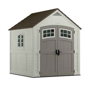 Suncast  Cascade  8 ft. 6-1/2 in. H x 7 ft. W x 7 ft. D Vanilla  Resin  Storage Shed