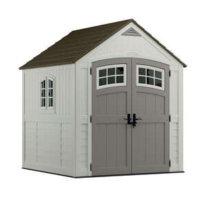 Suncast  Cascade  8 ft. 6-1/2 in. H x 7 ft. W x 7 ft. D Resin  Storage Shed  Vanilla