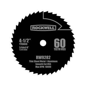 Rockwell  4-1/2 in. Dia. x 3/8 in.  Versacut  Circular Saw Blade  High Speed Steel  60 teeth